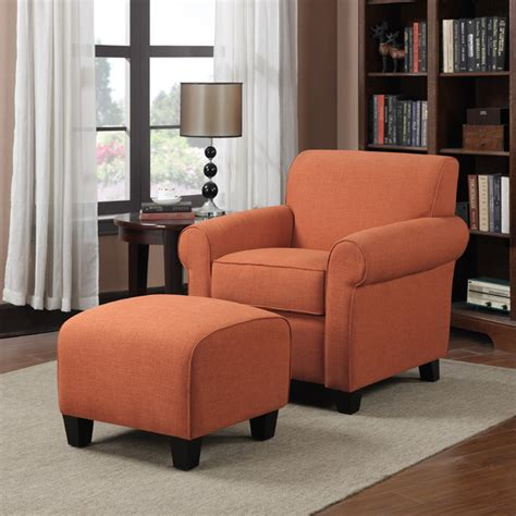 overstock chairs and ottomans portfolio mira orange linen arm chair and ottoman