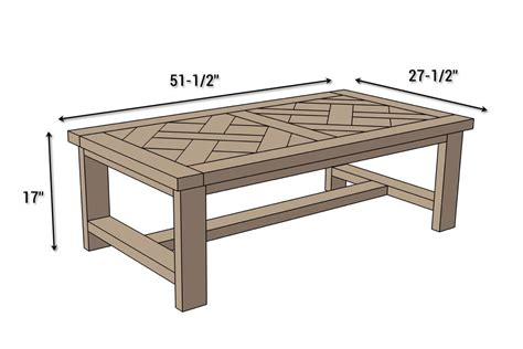 size of a coffee table diy parquet coffee table free plans rogue engineer