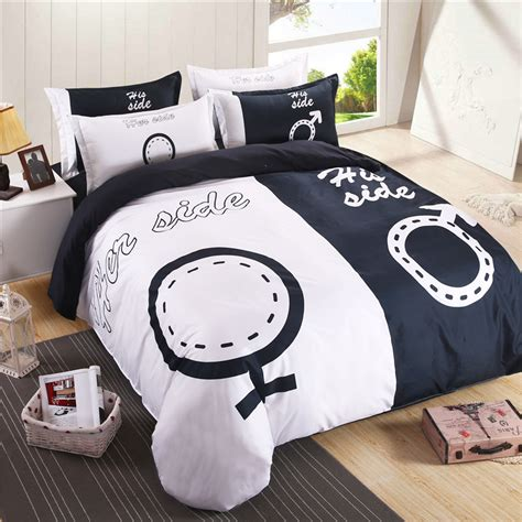 his and her bed set herside duvet cover 3pcs set 1pc quilts cover 1pillowcase lovers bedding 3d bed