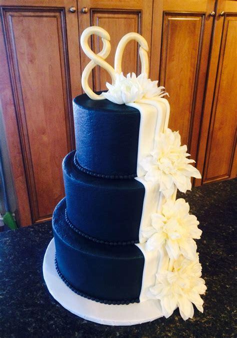 Elegant navy blue 80th birthday cake   My Cakes in 2019