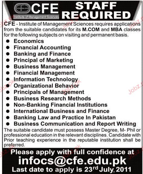 Mba After M In Pakistan by Mba And M Staff Opportunity 2018 Pakistan