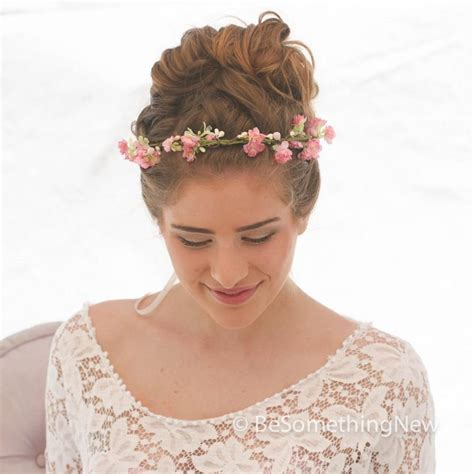 Wedding Hair Wreath Of Flowers by Bridal Hair With Flower Wreath Woodland Wedding Rustic