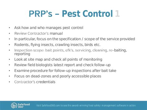 pest policy template specific aspects of food safety auditing