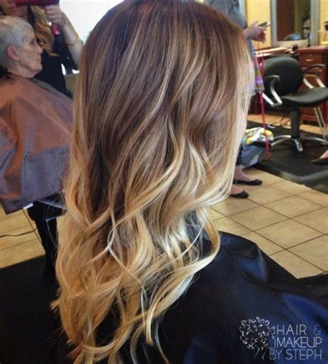 trendy long brown to blonde ombre hair with waves pictures