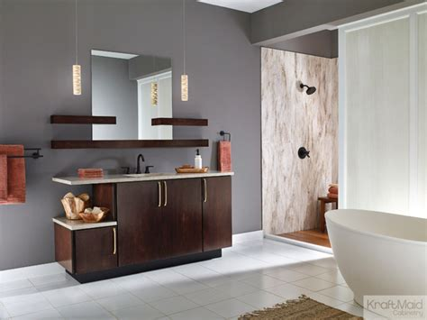 How To Clean Kraftmaid Kitchen Cabinets Kraftmaid Maple Slab Door In Peppercorn Contemporary