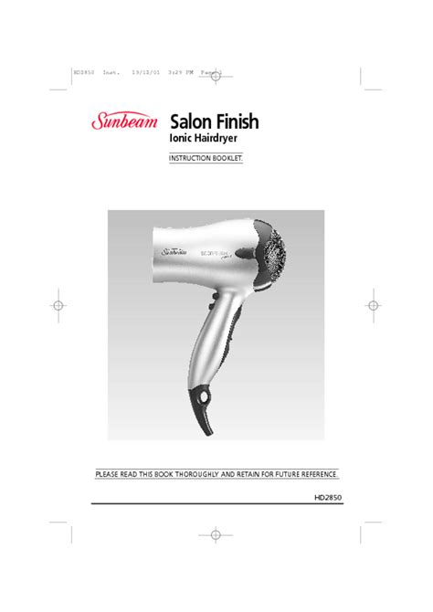 Hair Dryer Manual hair dryer users guides from quot hair dryer quot