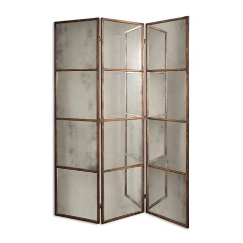 Mirror Room Divider Uttermost 13364 P Avidan Three Panel Mirrored Room Divider