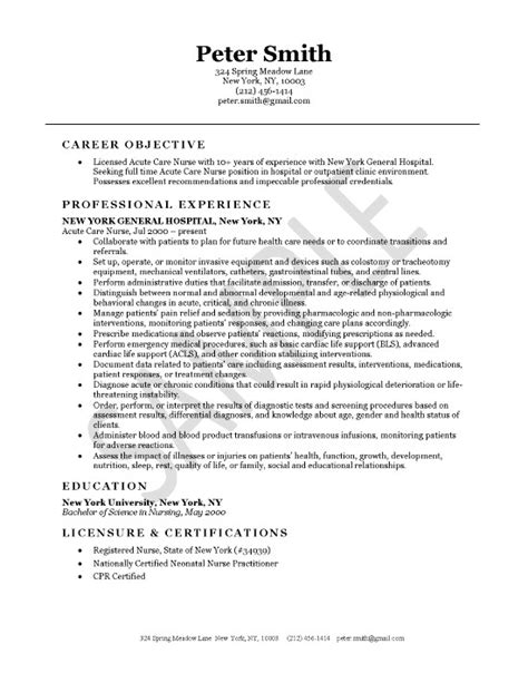Sample Resume Objectives Information Technology by Acute Care Nursing Resume Example