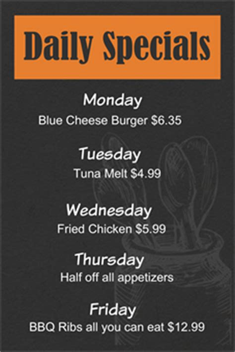 specials menu template 28 images cancel save day