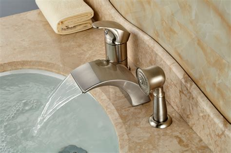bathtub faucets with sprayer brushed nickel roman waterfall spout tub faucet bathroom