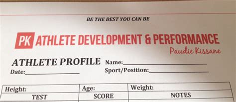 Athlete Profiling Pk Performance Athlete Profile Template Free