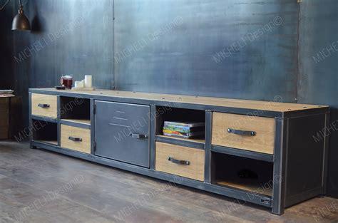 Meuble tv industriel 220 cm métal bois sur mesure