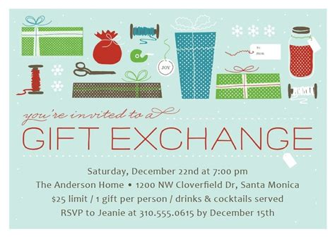 gift exchange christmas party invitation christmas party