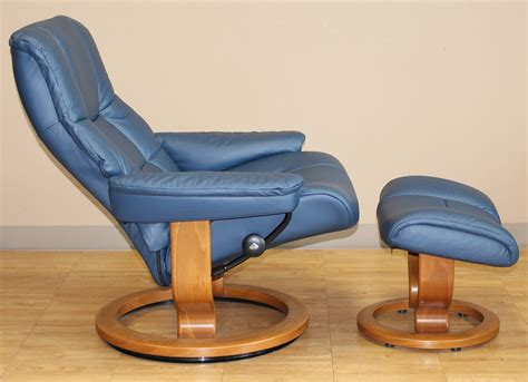 Stressless Recliner Chair by Stressless Mayfair Oxford Blue Leather Recliner