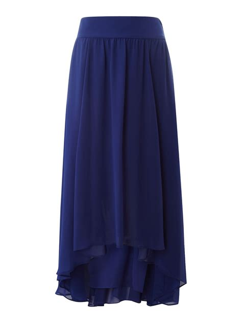 untold high low chiffon skirt in blue lyst