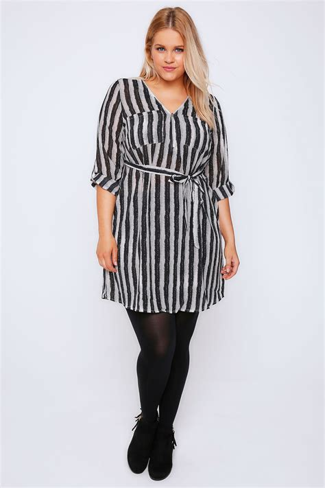 B18 Dress Zip White Stripe black white brush stripe zip front dress with waist tie plus size 14 to 32