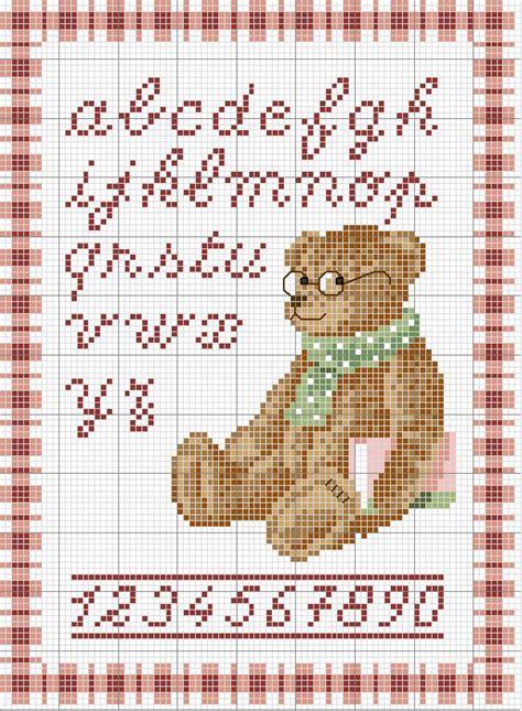 lettere minuscole punto croce alfabeto con orso lettere minuscole e numeri magiedifilo