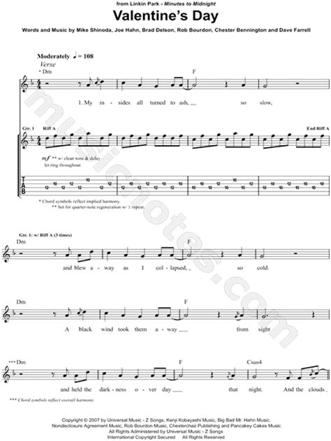 linkin park valentines day linkin park quot s day quot guitar tab in d minor