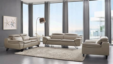 leather livingroom sets grey leather contemporary living room set cleveland ohio esf 973