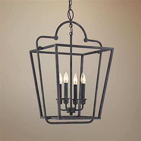 Lantern Style Foyer Chandelier quoizel 18 quot wide mottled black foyer lantern pendant 7t363 ls plus