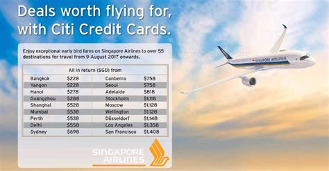 singapore airlines fares fr 148 all in return to 55 destinations with citi credit cards