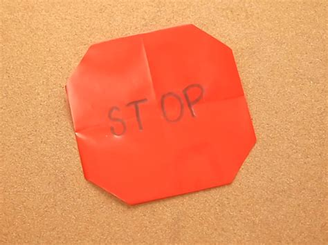 Origami Sign - how to make an origami stop sign 6 steps with pictures