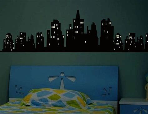 Wall Sticker Glow In The Xk012 city landscape glow in the wall decal stickers vinyl room decor ideas