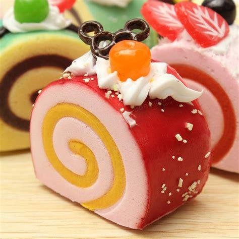 Squishy Fruit Roll Cake random squishy fruit and chocolate roll cake fridge magnet
