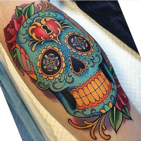 colorful skull tattoos sugar skull tattoos askideas