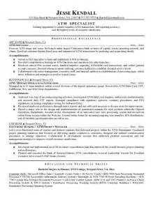Resume Samples Bank Teller by Example Atm Specialist Resume Free Sample
