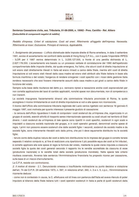 dispensa diritto tributario deducibilit 224 componenti negativi di reddito c cass n