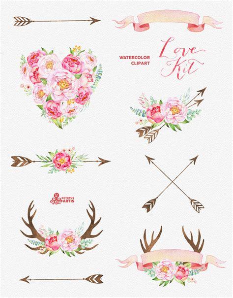 Set Floral 116 Busui Quality kit watercolor flowers clipart peonies arrows
