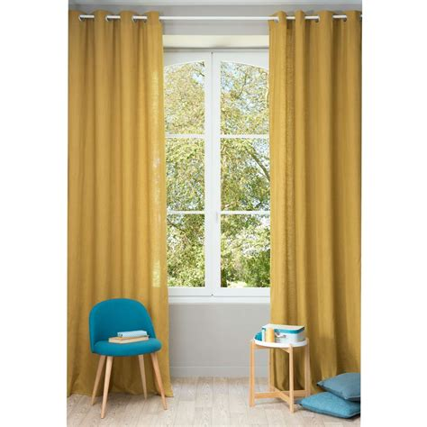 Mustard Yellow Curtains Washed Linen Eyelet Curtain In Mustard Yellow 130 X 300cm Maisons Du Monde