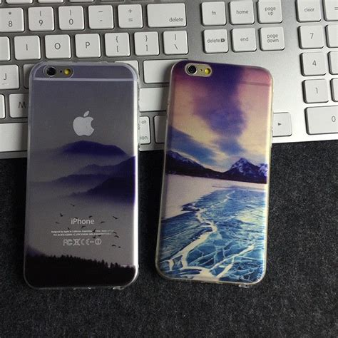 custom landscape painted tpu soft case  dust plug ultra thin cell phone  cover case