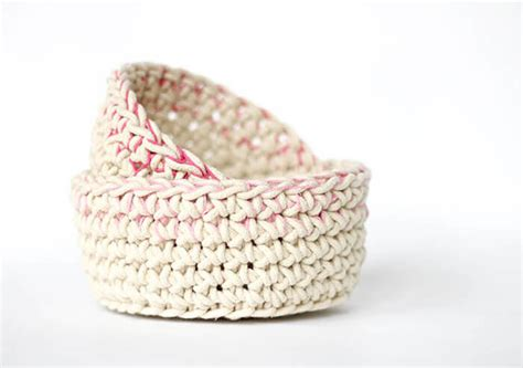 Crochet With Macrame Cord - color block crochet baskets free pattern lou