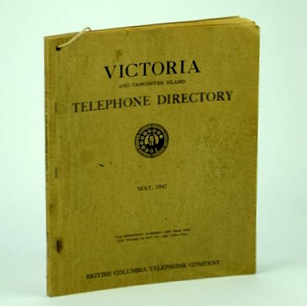 Bc Tel Lookup Columbia And Vancouver Island Telephone Directory May 1947