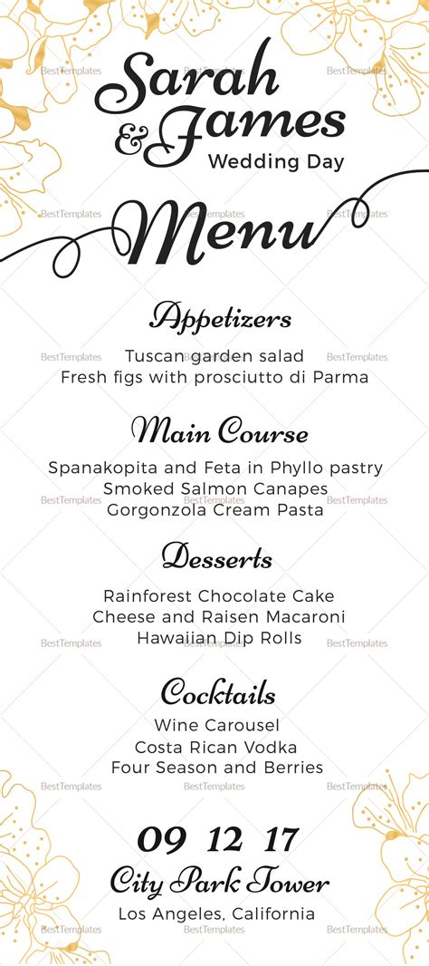 Reception Wedding Menu Design Template In Psd Word Publisher Illustrator Indesign Wedding Menu Size Template