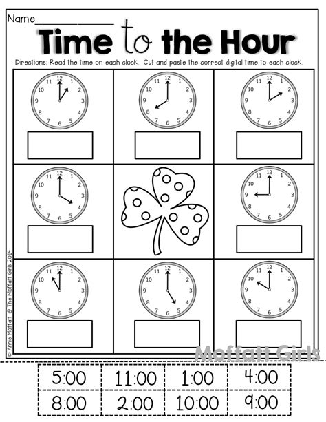 clock worksheets cut and paste time by the hour cut and paste kinderland