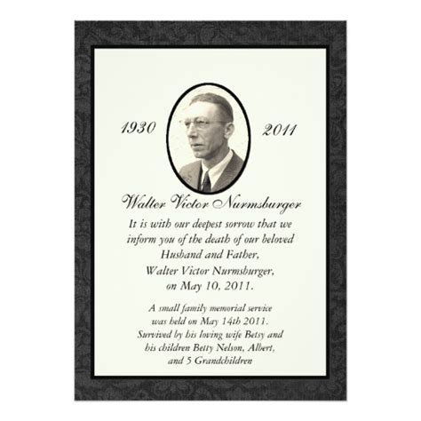 traditional death announcement card zazzle com