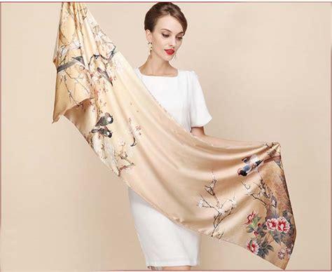 Pashmina Satin Motif 2 gold painting floral birds two tone silk winter wraps traditional clothes