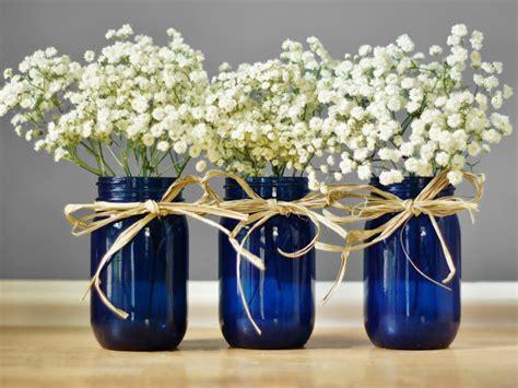 Three Vase Centerpiece by Three Cobalt Blue Jar Vases Rustic Table Decor Wedding