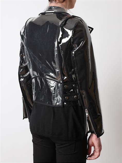 wanda transparent pvc biker jacket in black for