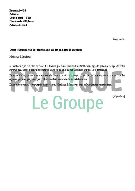 Lettre De Vacances Entreprise Lettre De Demande De Documentation Sur Une Colonie De Vacances Pratique Fr