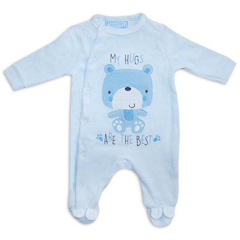 Pjhb85864 Pajamas Hug A Baby newborn baby boys unisex velour sleepsuit romper babygrow blue hugs ebay