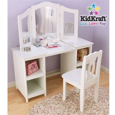 Makeup Table With Mirror And Chair Kidkraft Deluxe Wood Makeup Vanity Table With Chair And Mirror 13018