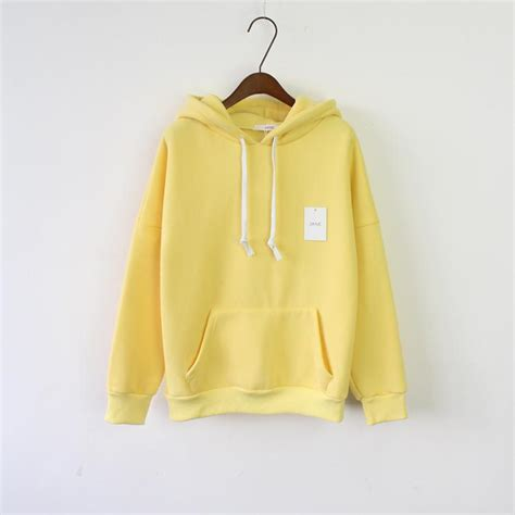design hoodie sleeves women s long sleeve light yellow casual harajuku winter