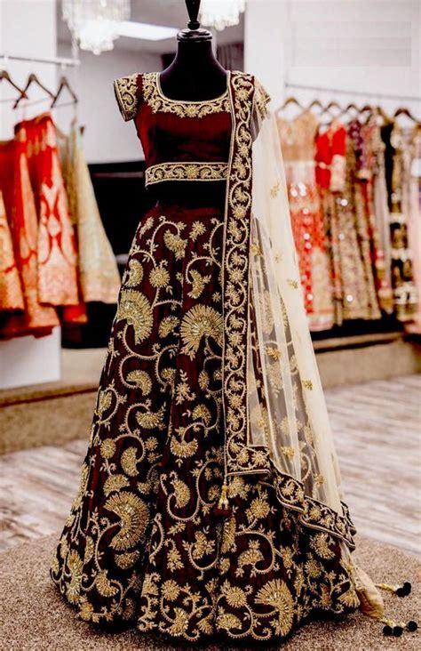 Anjani Maroon buy maroon velvet embroidered unstitched lehenga choli