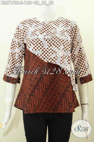 Blus Lengan Lonceng Warna Bata blus batik trendy dengan desain potongan miring baju batik warna kombinasi dengan lengan pakai