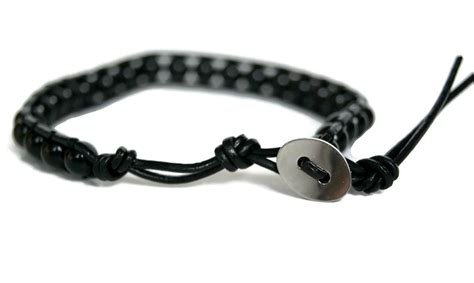 Leather Bracelet Black black bead leather bracelet wristband beaded leather