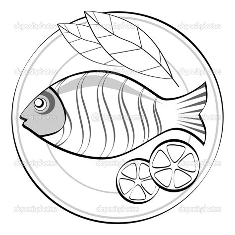 cooked fish coloring page fish food clipart black and white